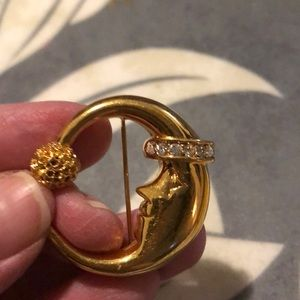 Moon brooch with Cvs gold tone